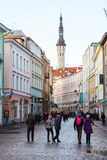People walking on the street in old city Royalty Free Stock Images
