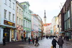 People walking on the street in old city Royalty Free Stock Image