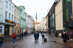 People walking on the street in old city Stock Image