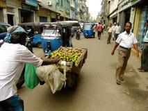 People walking on a street of Pettah neighborhood, Colombo, Sri. Lanka Royalty Free Stock Image