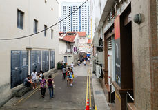 People walking on street in Singapore Royalty Free Stock Images