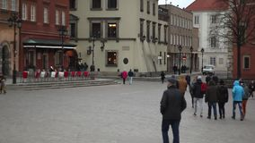 People walking on the street of Warsaw. Pedestrians in Europe. Full HD footage. Streets of Warsaw. Evening on the Old Town stock video