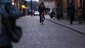 People walking on the street of Warsaw. Pedestrians in Europe. Full HD footage. Streets of Warsaw. Evening on the Old Town stock footage