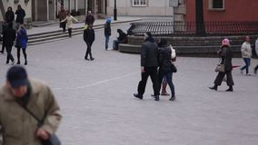 People walking on the street of Warsaw. Pedestrians in Europe. Full HD footage. Streets of Warsaw stock video footage