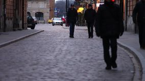 People walking on the street of Warsaw. Pedestrians in Europe. Full HD footage. Streets of Warsaw stock video