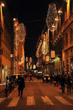People walking on the streets before Christmas Royalty Free Stock Photo