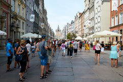 People walking on streets in historical center. Gdansk Stock Photography