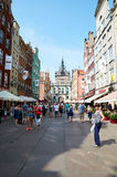 People walking on streets in historical center. Gdansk Royalty Free Stock Photography