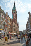 People walking on streets in historical center. Gdansk Stock Photos