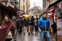People walking on the streets of Kadikoy area in Istanbul Royalty Free Stock Images