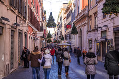 People walking in streets of Rome on christmas time Stock Image