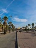 People walking on a sunny morning,  the Walk `Moll de la Fusta`, Royalty Free Stock Photos