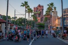 People walking on Sunset Boulevard at Hollywood Studios in Walt Disney World area 1. Orlando, Florida. May 20, 2019. People walking on Sunset Boulevard at stock photography