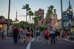 People walking on Sunset Boulevard at Hollywood Studios in Walt Disney World area 3. Orlando, Florida. May 20, 2019. People walking on Sunset Boulevard at stock photography