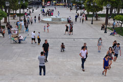 People walking syntagma square Royalty Free Stock Photo