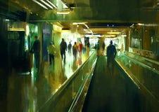 People walking in the terminal. Digital painting of people walking in the terminal Royalty Free Stock Image