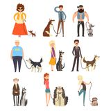 People walking with their dogs set, owners and their pets vector Illustration on a white background Royalty Free Stock Images
