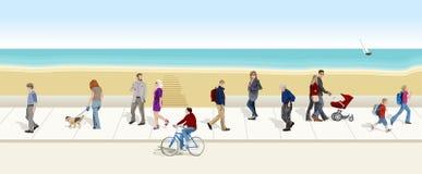 People walking to the sea bottom Stock Photo