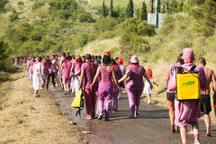 People walking to town after Haro Wine Festival Royalty Free Stock Photography