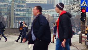 People walking to the Underground. stock footage