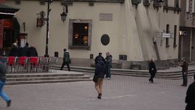 People walking to the Underground. stock video footage