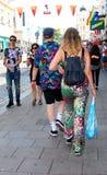 Walking to Brighton Pride parade stock image