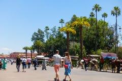 People Walking Towards Jema el Fna Square in Marrakech royalty free stock photos