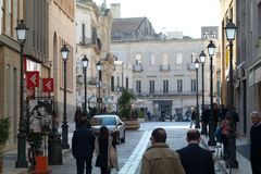 People walking in the town center of Lecce. In Italy Royalty Free Stock Images