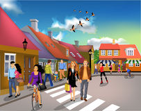 People walking through town on a sunny day. Vector illustration of people walking through town on a sunny day Stock Images