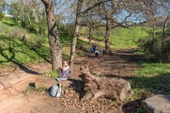 People on a walking trail in Majik Forest in Durbanville. DURBANVILLE, SOUTH AFRICA, AUGUST 11, 2018: People are visible on a walking trail in Majik Forest in royalty free stock images
