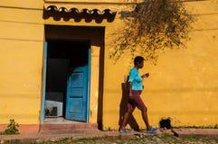 People walking in Trinidad, Cuba Royalty Free Stock Photography