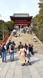 People walking in the Tsurugaoka Hachimangu, Kamakura, Japan stock photography