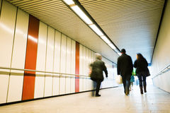 People walking through the tunnel Royalty Free Stock Images