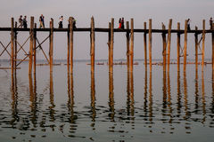 People walking on the Ubein bridge in Mandalay, Myanmar Stock Photography