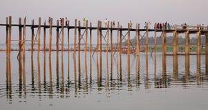 People walking on Ubein bridge in Mandalay, Myanmar Royalty Free Stock Photography