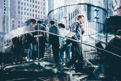 People Walking Up and Down the Staircase in the City in Tilt Shift Lens Stock Images