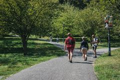 People walking up Petrin Hill, Prague, Czech Republic stock images