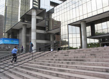 People walking up stairs of modern building. People walking up stairs to the mobile phone operator Movistar in Caracas Venezuela Royalty Free Stock Photos