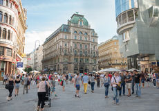 People walking  in Vienna. VIENNA, AUSTRIA - AUGUST 3, 2015: people walking in the historic Stephansplatz center of Vienna on august 3, 2015 in Vienna Royalty Free Stock Photo