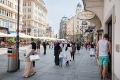 People walking  in Vienna. VIENNA, AUSTRIA - AUGUST 3, 2015: people walking in the historic Stephansplatz center of Vienna on august 3, 2015 in Vienna Stock Photos