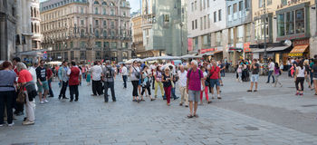 People walking  in Vienna. VIENNA, AUSTRIA - JULY 31, 2015: people walking in the historic Stephansplatz center of Vienna on  july 31, 2015 in Vienna Stock Photography
