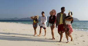 People walking from water talking on beach, mix race man and woman group tourists communication stock footage