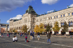 People walking in the weekend on the Red square, Moscow Stock Image