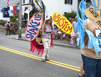 People walking in the Wellfleet 4th of July Parade in Wellfleet, Massachusetts. Royalty Free Stock Image