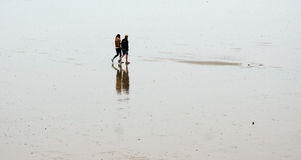 People walking on wet sandy beach Royalty Free Stock Image