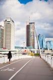People walking on the White Bridge in Vilnius, Lithuania Stock Photos