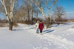 People walking in winter park at sunny weekend in Dnepr city, Ukraine. DNEPR, UKRAINE - JANUARY 08 2017: People walking in winter park at sunny weekend in Dnepr royalty free stock image
