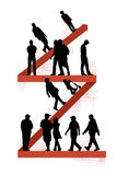 People walking on zigzag line Stock Image