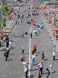 People walks over the stone brick street in kiev, Royalty Free Stock Photos