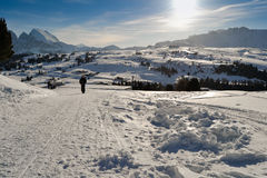 People walks on ski slopes covered with snow. Stock Photography